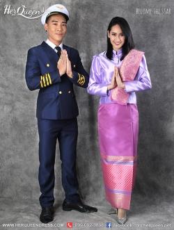 เช่าชุดไทย &#x2665 ชุดไทยจิตรลดา แอร์การบินไทย คู่ชุดกัปตัน