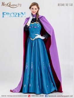 เช่าชุดแฟนซี &#x2665 ชุดแฟนซี เจ้าหญิง แอนนา Frozen ผ้าคลุมยาวสีม่วง