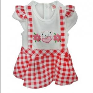 ชุดกระโปรวเอี๊ยมเด็กหญิงลายสก๊อตสีแดงสลับขาวปักหมีเด็กเล็ก