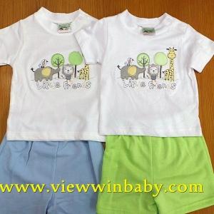 สื้อผ้าเด็กขายส่ง แบรน viewwinbaby -เสื้อยืดติดสสีเแนบสีเขียวปักซฟารี พร้อมกางเกงกางยืดสีเขียวกับขาว เข้าชุด size 3-6-9 m