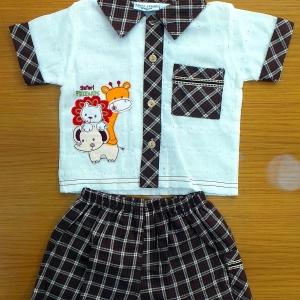 สื้อผ้าเด็กขายส่ง แบรนเสื้อยืดสีน้ำตาลปักซฟารี พร้อมกางเกงกางยืดสีน้ำตาลข้าชุดค่ะ size 12-18-24 ส่ง แพ็ค 6 ตัว