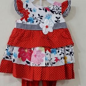 ชุดเสื้อกางเกงเลกกลิ้งระบบายสามชั่น | สีแดงกับสีชมพู สินค้าพร้อมจัดส่ง