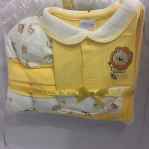 เช็ตเด็กแรกเกิดแบบ5ชิ้นสีเหลืองปักสิงโต