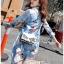 เดรสผ้าโพลีเอสเตอร์สีฟ้าสดพิมพ์ลายตกแต่งริบบิ้น thumbnail 7
