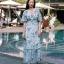 Maxi Dress สุดเก๋ทรงคอvมีพู่ห้อยผูกโบว์ thumbnail 2