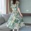 Maxi Dress พิมพ์ลายใบไม้และดอกไม้โทนสีเขียวสดใส thumbnail 5