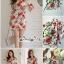 เดรสเนื้อผ้าเครปพิมพ์ลายดอกกุหลาบสีแดง thumbnail 5