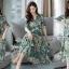 Maxi Dress พิมพ์ลายใบไม้และดอกไม้โทนสีเขียวสดใส thumbnail 1