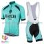 ชุดจักรยานแขนสั้นทีม Bianchi 17 (09) สีเขียวดำลาย กางเกงเอี๊ยม
