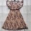 Dress แขนระบายคอV เนื้อผ้าซีทรูปักดอก thumbnail 6