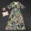 Maxi Dress พิมพ์ลายใบไม้และดอกไม้โทนสีเขียวสดใส thumbnail 7