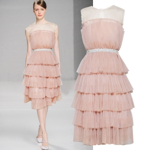 DR_9846 (pre-order) ชุดเดรสออกงานสีพีช แขนกุดซีทรู ฟ่องด้วยผ้าอัดพลีท ประดับเพชร, 2018, Dress, Peach PinkOrange, S-M-L