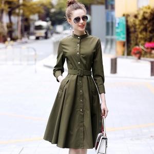 DR_9833 (pre-order) ชุดเดรสิช้ตสีเขียวทหาร คอจีนกระดุมหน้า แบรนด์ R&J, 2018, Dress, Green, S-M-L