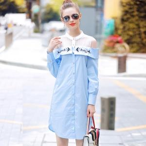DR_9830 (pre-order) ชุดเดรสเชิ้ตประดับคริสตัล ปักข้อความ Love โทนฟ้าขาว, 2018, Dress, Blue, S-M-L-XL