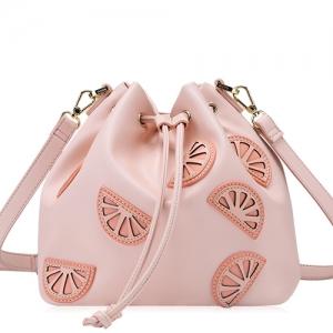 BG_3163 (pre-order) กระเป๋าขมจีบ ลายแฟงแตงโม สี Peach, 2018, Shoulder Bag, Pink Peach