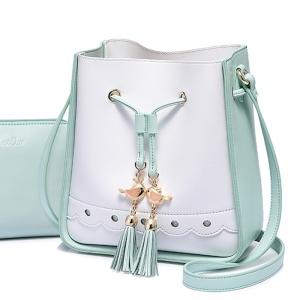 BG_3160 (pre-order) กระเป๋าขนมจีบหูรูด พร้อมกระเป๋าใบเล็ก แบรนด์ JST, 2018, Shoulder Bag, Green-Blue-Pink