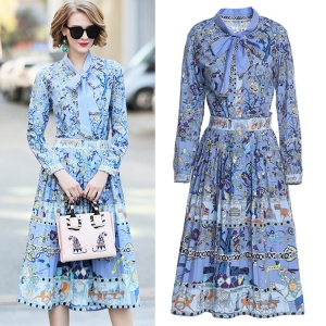 DR_9844 (pre-order) ชุดเสื้อเชิ้ตพร้อมกระโปรง พิมพ์ลายเส้นสไตล์อินเดีย โทนสีฟ้า, 2018, Dress, Blue, S-M-L-XL