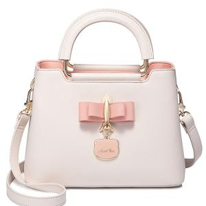 BG_3168 (pre-order) กระเป๋าถือประดับโบว์ แบรนด์ JS, 2018, Bag, Pink-Light Beige-Blue-Black