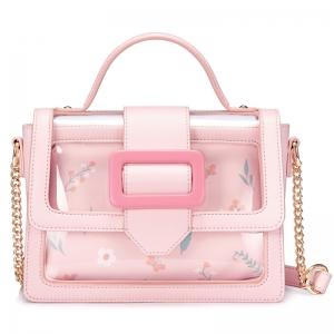 BG_3161 (pre-order) กระเป๋าถือพร้อมสายสะพาย สไตล์เข็มขัด ด้านในใส ด้านในมีกระเป๋าหนัง, 2018, Bag, Pink
