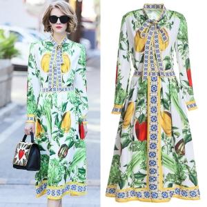 DR_9842 (pre-order) แฟชั่นชุดเสื้อกระโปรง พิมพ์ลายสวนผัก โทนสีเขียว แบรนด์ DDBole, 2018, Dress, Green, S-M-L-XL
