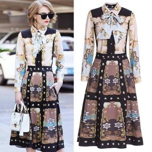 DR_9837 (pre-order) แฟชั่นพิมพ์ลาย ชุดเสื้อกระโปรง แบรนด์ DDBole, 2018, Dress, BeigeBrown, S-M-L-XL