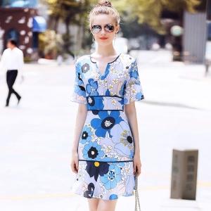DR_9831 (pre-order) ชุดเดรสผ้าไหมแท้ Floral Dress พิมพ์ลาย เกรดพรีเมี่ยม แบรนด์ R&J, 2018, Dress, Navy Blue, S-M-L-XL