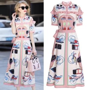 DR_9836 (pre-order) แฟชั่นเสื้อกระโปรง 2 ชิ้น แบรนด์ DDBole พิมพ์ลายรถม้า โทนสีชมพูนม, 2018, Dress, PinkBeige, S-M-L-XL