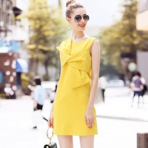 DR_9828 (pre-order) ชุดเดรสทำงานสีเหลือมัสตาร์ด ดีไซน์โบว์หน้า แบรนด์ R&J, 2018, Dress, Yellow, S-M-L-XL