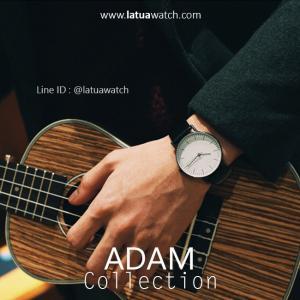 นาฬิกาข้อมือ รุ่น ADAM หน้าปัดขาว สายดำ