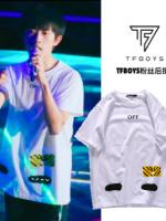 เสื้อยืดแขนสั้นเกาหลี TFBOYS แต่งลายโลโก้ มี2สี
