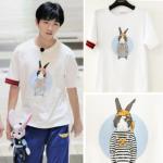 เสื้อยืดแขนสั้นเกาหลี TFBOYS แต่งรูปกระต่าย แต่งขอบ