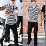 เสื้อยืดแขนสั้นคอV Justin Bieber แต่งลายขวาง