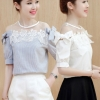 เสื้อแฟชั่นเกาหลี ต่อไหล่ซีทรูลูกไม้ ผูกโบว์น่ารัก มี 2 สี