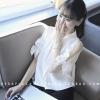 เสื้อเชิ้ตแฟชั่น แขนสั้น ผ่าแขนมีสายผูก สีขาว