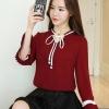 เสื้อแฟชั่นเกาหลี สายผูกโบว์ที่คอ ปลายสายมีไข่มุก สีแดง
