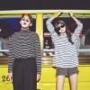 เสื้อแฟชั่นเกาหลีคอเต่า แขนยาว ลายขวาง สีดำ สีขาว