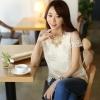 เสื้อแฟชั่นเกาหลี ผ้าลูกไม้ปักลาย คอแต่งมุก สีขาว