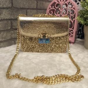 CHARLES & KEITH EMBELLISHED BUCKLE CROSSBODY BAG *สีทอง
