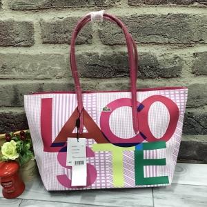 Lacoste Tote Bag สกรีนตัวอักษร LACOSTE รอบใบ *สีชมพู