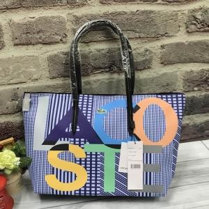 Lacoste Tote Bag สกรีนตัวอักษร LACOSTE รอบใบ *สีน้ำเงิน