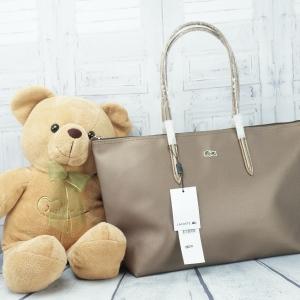Lacoste shopper Pvc Pu Split Cow Leathet Bag *สีบรอนซ์