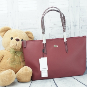 Lacoste shopper Pvc Pu Split Cow Leathet Bag *สีแดง