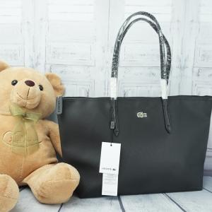 Lacoste shopper Pvc Pu Split Cow Leathet Bag *สีดำ