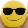 หมอนอิงตุ๊กตา อิโมจิ ใส่แว่น ทรงกลม สีเหลือง