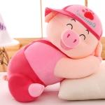 หมอนผ้าห่ม น้องหมู ใส่หมวก สีชมพู ทรงนอน ตัวใหญ่