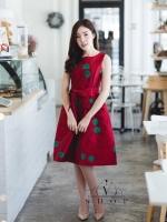 ชุดเดรสแฟชั่นสำหรับออกงาน ใช้ผ้าไหมลายดอกกุหลาบ สีแดง