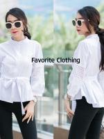 เสื้อแฟชั่น New!!!! เสื้อคอจีนแต่งแขนพอง สีขาว