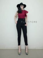 กางเกงเอวสูงแฟชั่นสีดำ
