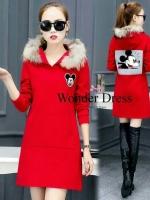 เดรสแฟชั่น MICKEY DRESS แดง