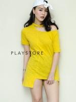 เสื้อแฟชั่นผ้าสลาฟสีเหลือง